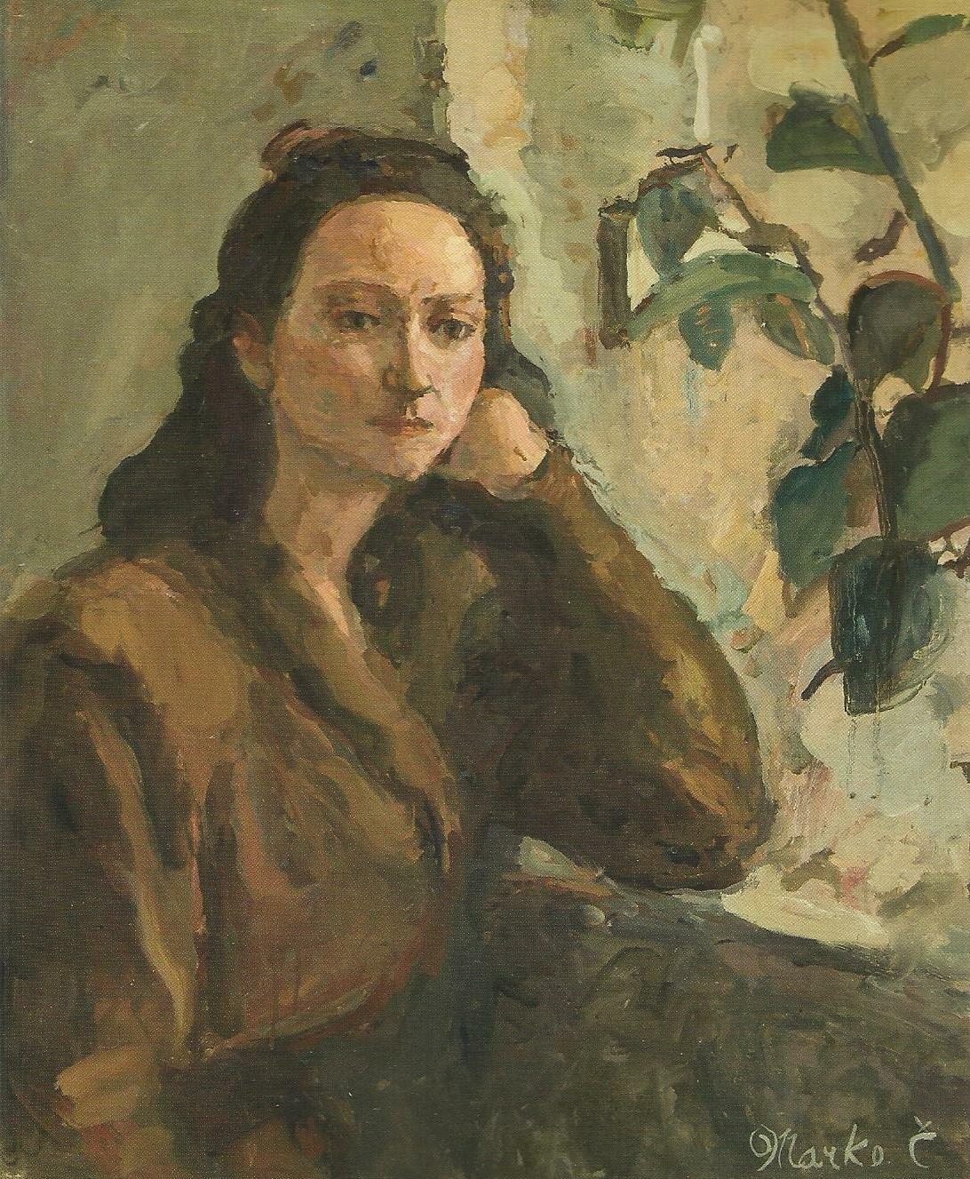 Devojka_i_lišće,_ulje_na_platnu_(1948)