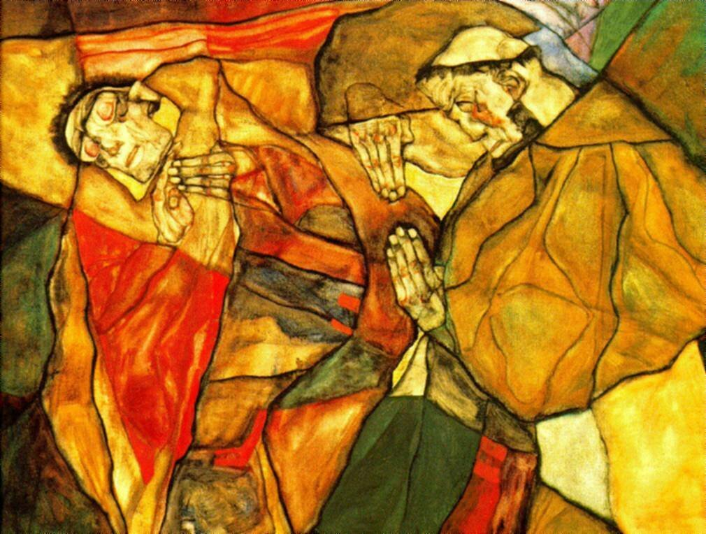 Egon Schiele - Agony _The Death Struggle_ Detail